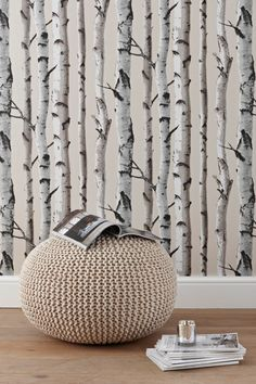 Birch trees wallpaper- would like this for the chimney breast.