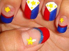 Philippine flag nail art! Go Pacquiao!