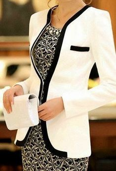 White Patchwork Pockets Casual Slim Blazer - love this look.so classic. Mode Outfits, Office Outfits, Stylish Outfits, Office Wear, Stylish Blazers, Office Fashion, Work Fashion, Winter Fashion, College Fashion