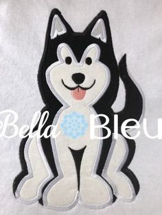 Siberian Husky Dog Machine Applique Embroidery Design