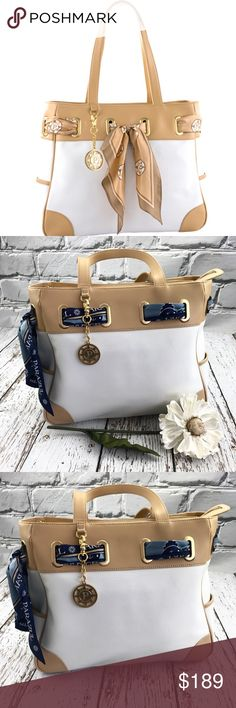 💕SALE💕 Parazul Large White & Tan Scarf Bag Gorgeous 💕 NWOT Parazul Rare Large White & Tan Scarf Bag. This Company is owner by Louis Vuitton and can only be purchased on cruises in Caribbean Parazul Bags