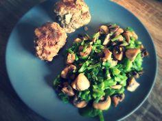 Koolhydraatarme recepten: Snijbonen met champignons en gehaktballen
