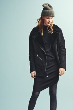Holzweiler AW15 Collection - Kyoto Shearling Jacket + Firence Dress + Bushwick Beanie Green