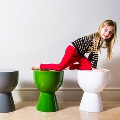 Bring some fun to your home with these unusual Pols Potten chairs. These sleek, high-shine Tam-Tam stools will bring an instant color injection to your home, and will create a focal point in any room of the house.