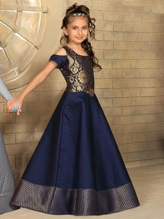 Shop Navy silk classy dressy gown online from India. Kids Party Wear Dresses, Party Wear Indian Dresses, Indian Gowns Dresses, Frocks For Girls, Gowns For Girls, Dresses Kids Girl, Girls Frock Design, Kids Frocks Design, Party Kleidung