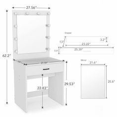 Tribesigns Lighted White Vanity Table Set with Huge Mirror for Bedroom Makeup US White Vanity Table, Vanity Table Set, Bedroom Stools, Bedroom Desk, Diy Vanity Mirror With Lights, Lighted Mirror, Huge Mirror, Mirror Vanity, Dresser Desk