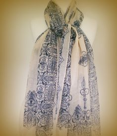 Large cream summer scarf in lightweight breathable cotton with swirling organic bohemian henna tattoo design in faded indigo ink. Pale vintage shades of warm cream and faded indigo ink blue combine in this delicate diaphanuos large lightweight and soft summer scarf. $40.00