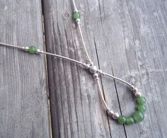 Handmade Elegant Green Jade and Sterling Silver Drop necklace