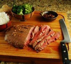 Ginger-Soy Flank Steak  serves six  Prep + Cook: twenty-five minutes + Marinate
