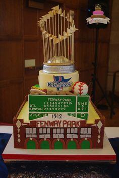 Love this Commissioner's Trophy (MLB) Wedding Cake - Boston Red Sox #baseballwedding