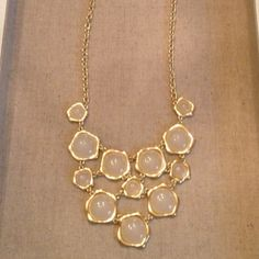 ReducedStatement necklace Statement bubble interlink necklace with ivory  acrylic stones encased in gold. All sales final Jewelry Necklaces