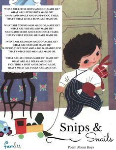 What are Little Boys Made of? Download our poem printable.