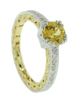 Ceylon Yellow Sapphire with Diamonds in Yellow and White Gold - Brisbane Jeweller - Coloured Gems - MONTASH Jewellery Design - www.montash.com.au