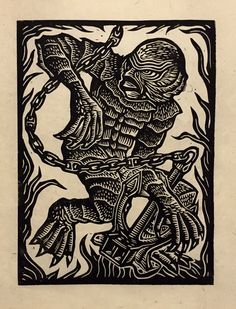 Brian Reedy ~ Creature from the Black Lagoon ~ Woodcut, Rice Paper, 9 x 12 inch