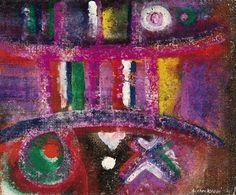 AHMED CHERKAOUI, Les miroirs rougesm Yute sobre tablex, 23,5 x 28,5 cm.