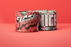 Naughty or Nice for Who Gives A Crap on Behance Root Beer, Coffee Cans, Typography, Behance, Packaging, Canning, Mugs, Nice, Drinks