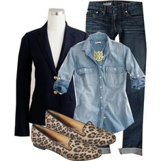 Jeans, black jacket, chambray top, leopard flats