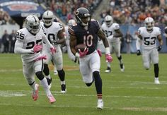 Chicago Bears wide receiver Marquess Wilson (10) runs the ball after catching a pass during the first half of an NFL football game against the Oakland Raiders, Sunday, Oct. 4, 2015, in Chicago. (AP Photo/Nam Y. Huh)
