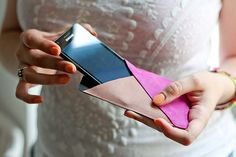 Geometric smartphone leather case DIY by Amelie N, via Flickr