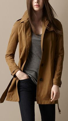 Short Cotton Satin Trench Coat | Burberry