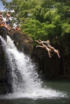 Kipu Falls, Kauai Diving off Kipu Falls. Bert dove off the tree (not pictured) above the falls.