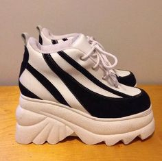 da16499d87e vintage super chunky platform wedge wavy stripe lace up sneakers Black and  white PU faux uppers
