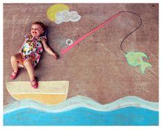 Fishing Sidewalk Chalk Art