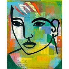 modern abstract collage portrait ORIGINAL von ElizabethRosenArt