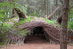 Whimsical Forest Sculptures #Art, #Forest, #Installation, #Sculptures, #Wood