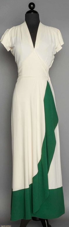 1940's white crepe dress w/ dark green panel on left side