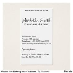 Business card with a beautiful fashion style girl face on a white background. Perfect for your company promotion. Suitable for make-up artists, cosmetologists, lash extension, hairdressers, stylists, spa salon , hair and beauty salon or model agency. Customizable. Collection of matching branding products:           com.                                           com             com                               com