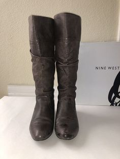 6873eca4bc Nine West women Brown Leather boots size 7 | eBay Brown Leather Boots, Nine  West