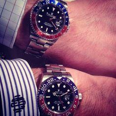 #Rolex #watch GMT ref.16710 Steel against Rolex GMT ref.116719BLRO white gold #mensfashion #style www.astrua.com
