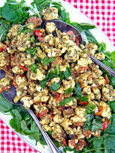 ADDICTED to VEGGIES: Pesto-Marinara Cauliflower Plate & Mediterranean Raw Food Recipes