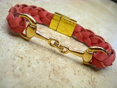 Thick Braided Pink Leather Bracelet with Gold Equestrian Snaffle Bit and Gold Plated Magnetic Clasp  by BeachSideLeathers, $18.99