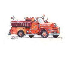 Cute Red Fire Truck Print - Boy's Nursery - Vintage Fire Truck Watercolor -Kids Wall Art- print 8 x 10 - Small Format Art SFA by kathyjurek on Etsy