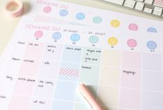 in French but good inspiration Planner Organisation, Organization Bullet Journal, 2017 Planner, Agenda Planner, Planner Ideas, Filofax, Bullet Journal Printables, Diy Tumblers, Printable Planner