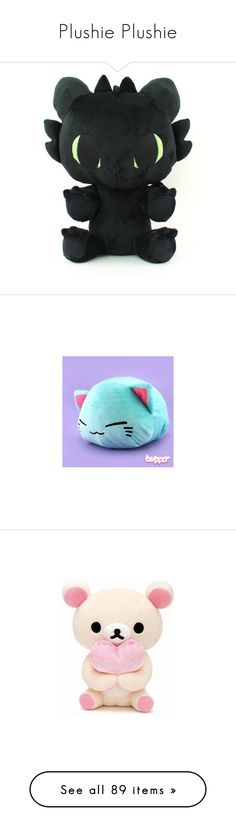 """""""Plushie Plushie"""" by chibi-shinigami ❤ liked on Polyvore featuring toys, kids, stuffed animals, accessories, ember, filler, home, home decor, blue home decor and cat home decor"""
