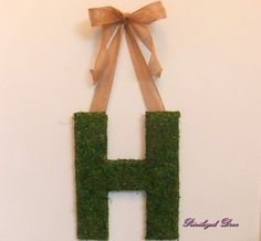 Moss letter with burlap ribbon