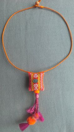 This item is unavailable - Textile necklace/pendant to bright colors and hot Fabric Necklace, Diy Necklace, Necklaces, Textile Jewelry, Fabric Jewelry, Rope Jewelry, Jewelry Art, Jewellery, Crochet Bracelet