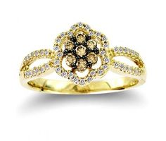 Brown Diamond Fashion Rings Chocolate Brown Diamond Flower