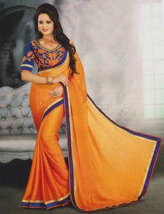 Orange plain chiffon saree with blouse - Agrwalas - 443590 Plain Chiffon Saree, Saree Blouse, Sari, Latest Sarees, Traditional Sarees, Indian Sarees, Indian Wear, Beautiful Outfits, Blouses