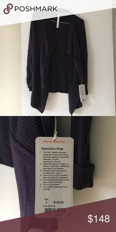 Lululemon Resolution Wrap Beautiful plum purple lulu sweater. NWT! Never  used. Has zipper pockets in the front and thumb holes! Open to reasonable offers. No low balling. Looking to sell quick! lululemon athletica Sweaters Cardigans