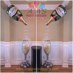 Champagne bottle and glass balloon decoration. Great for bridal shower, wedding decor or a gift for the the bride-to-be! - Decoration For Home 50th Birthday Decorations, New Years Eve Decorations, 60th Birthday Party, Birthday Balloons, Wedding Decorations, Champagne Balloons, Champagne Party, Balloon Columns, Balloon Arch