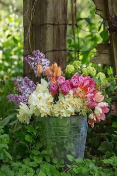 We offer DIY buckets of mixed flowers for parties, events and weddings. This bucket is a selection of what's available on the farm in May. Flower Branch, Flower Farm, Daffodils, Tulips, Grandmas Garden, Spring Wedding Flowers, May Flowers, Table Arrangements, Dahlia