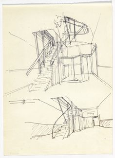 Brunner Sanina - Drawer - Alvaro Siza - SAAL S. Moma, Architecture Sketchbook, Architecture Illustrations, Drawing Sketches, Drawings, Drawing Stuff, Perspective Sketch, Drawn Together, Building Sketch