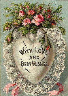 Victorian white lace pincushion heart Valentine...