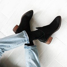 slit design suede ankle boots | a cup of water