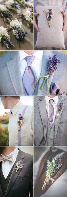 lavendar wedding inspiration, purple wedding, purple wedding flowers, purple tie, chic rusitc lavender wedding boutonnieres for guys Wedding Groom, Wedding Suits, Wedding Themes, Trendy Wedding, Perfect Wedding, Wedding Colors, Rustic Wedding, Dream Wedding, Wedding Day