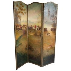 Three-Panel Victorian Painted Leather Fox Hunting Screen 1